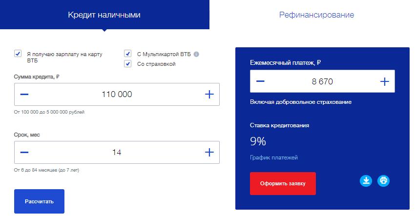 Калькулятор ВТБ онлайн рассчитать