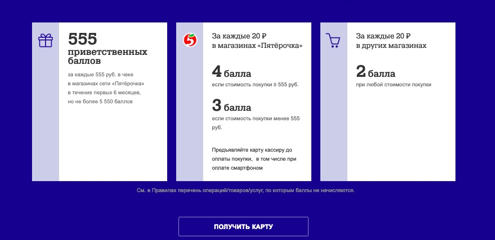 Карта Пятерочка Почта Банка