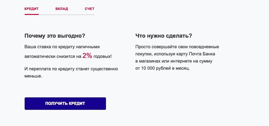 Почта Банк активный