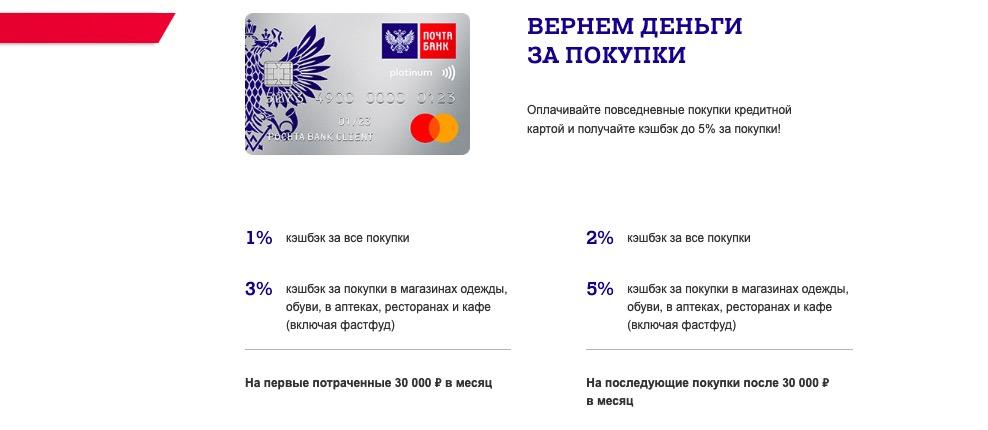 Почта Банк кэшбэк условия